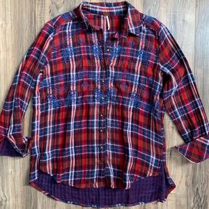 Free People plaid embroidered button down